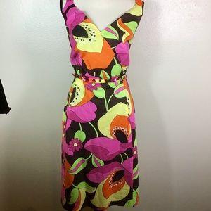 Avenue Bright Floral Dress W/Embellished Belt EUC